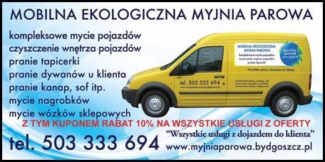 Kupon rabatowy -10% na usługi Mobilnej Ekologicznej Myjni Parowej
