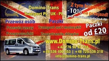 Kupon rabatowy na przejazdy do UK z Domino-Trans